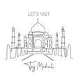 one single line drawing taj mahal mosque landmark vector image