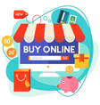 online shopping concept banner trendy vector image vector image