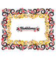 ornate floral rectangle frame in black red and vector image vector image