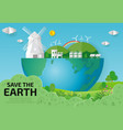 paper art of earth day save the world save plane vector image