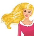 Pretty blond girl in red clothes vector image vector image