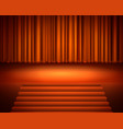 red curtain with a spotlight and stair vector image