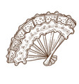 retro fan vintage accessory with lace and wooden vector image vector image