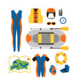 set of equipment for sports and outdoor activities vector image vector image