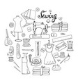 set of hand-drawn black and white elements for sew vector image vector image