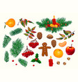 set of hand-drawn christmas decorations vector image