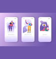social media onboarding mobile app screens vector image vector image