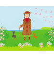 stylish old woman on a walk with her dogs vector image