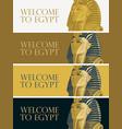 travel banners golden mask pharaoh tutankhamun vector image