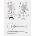 Trendy Retro Vintage Insignias with Guitar vector image vector image