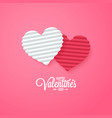 valentines day card paper cut hearts vector image