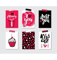 Valentines day gift card set Hand drawn vector image vector image