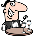 waiter in restaurant cartoon vector image