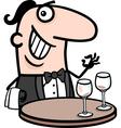 waiter in restaurant cartoon vector image vector image