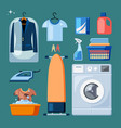 washing and cleaning things set cleaned suits vector image