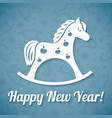 White paper horse on blue background vector image