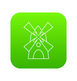 windmill icon green vector image vector image