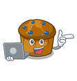 with laptop mufin blueberry character cartoon vector image