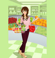 woman shopping grocery vector image vector image