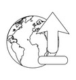 world with upload internet symbol in black and vector image vector image