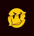 yellow distorted smile emoji isolated on black vector image vector image