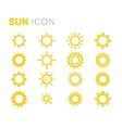 yellow sun icons set vector image vector image
