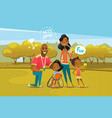 happy african american family with disabled girl vector image
