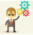 Businessman with the gears Brain storming vector image