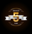5 years anniversary celebration logotype golden vector image vector image