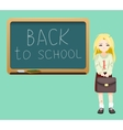 Back to school board cheerful girl satchel first vector image vector image