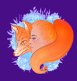 beautiful woman portrait with a fox and flowers vector image vector image