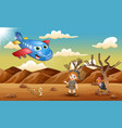 cartoon plane and a boy in the desert vector image vector image