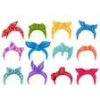 cartoon retro headband bandanas women retro head vector image