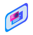 chat monitor icon isometric style vector image vector image