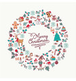 christmas hand drawn cute holiday wreath card art vector image vector image