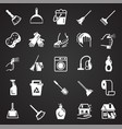 cleaning icons set on black background for graphic vector image
