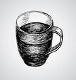 Coffe mugs drawing sketch style vector image vector image