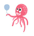 cute cartoon pink octopus character holding air vector image vector image