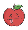 dead red apple cartoon apple vector image vector image