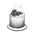 dotwork birthday cake vector image