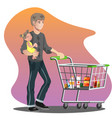 father with daughter and shopping cart vector image vector image