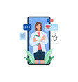 female doctor on screen smartphone holding vector image vector image
