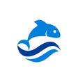 fish waves blue logo icon vector image vector image