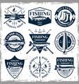 fishing set of nine vintage emblems vector image vector image