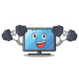 fitness lcd tv cartoon in living room vector image vector image
