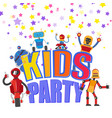 flat funny robots kids party background vector image
