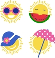 four sun icons happy summer holidays vector image