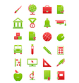 Green red school icons set vector image vector image