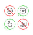 hand click update data and confirmed icons set vector image vector image