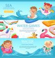 horizontal banners set with happy vector image vector image